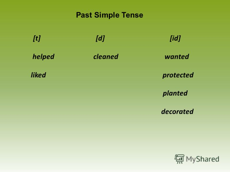 [t] [d] [id] helped cleaned wanted liked protected planted decorated Past Simple Tense