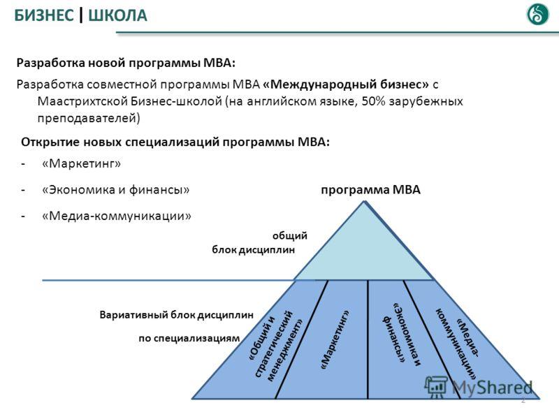 2 Разработка новой программы МВА: Разработка совместной программы МВА «Международный бизнес» с Маастрихтской Бизнес-школой (на английском языке, 50% зарубежных преподавателей) Открытие новых специализаций программы МВА: -«Маркетинг» -«Экономика и фин