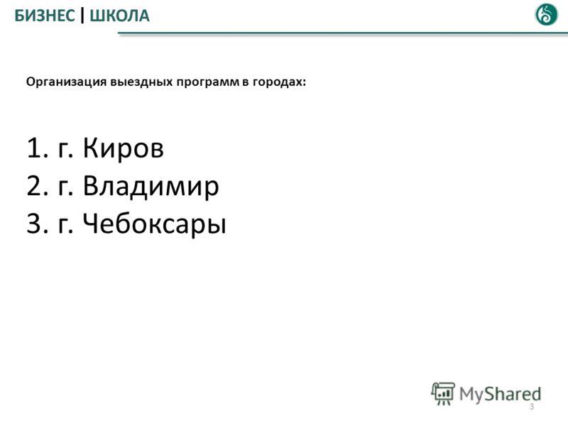 3 Организация выездных программ в городах: 1. г. Киров 2. г. Владимир 3. г. Чебоксары