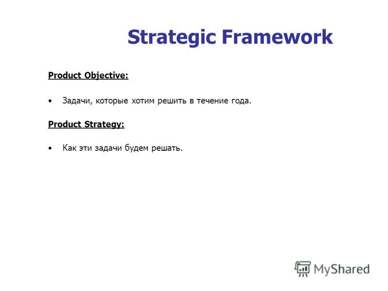 Strategic Framework Product Objective: Задачи, которые хотим решить в течение года. Product Strategy: Как эти задачи будем решать.