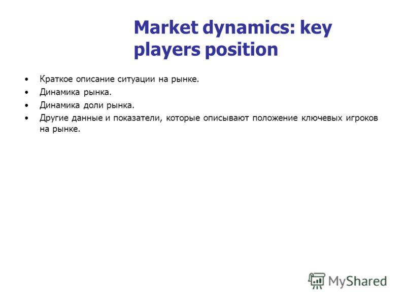 Market dynamics: key players position Краткое описание ситуации на рынке. Динамика рынка. Динамика доли рынка. Другие данные и показатели, которые описывают положение ключевых игроков на рынке.