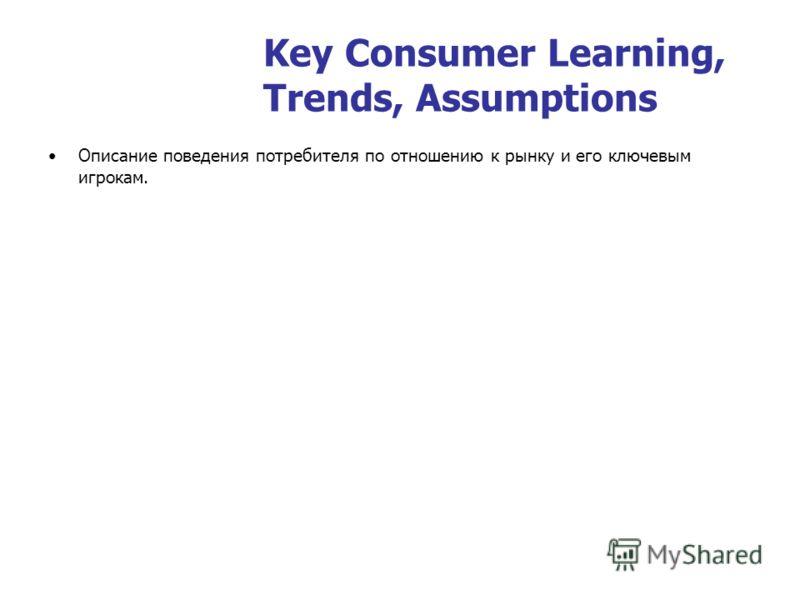 Key Consumer Learning, Trends, Assumptions Описание поведения потребителя по отношению к рынку и его ключевым игрокам.