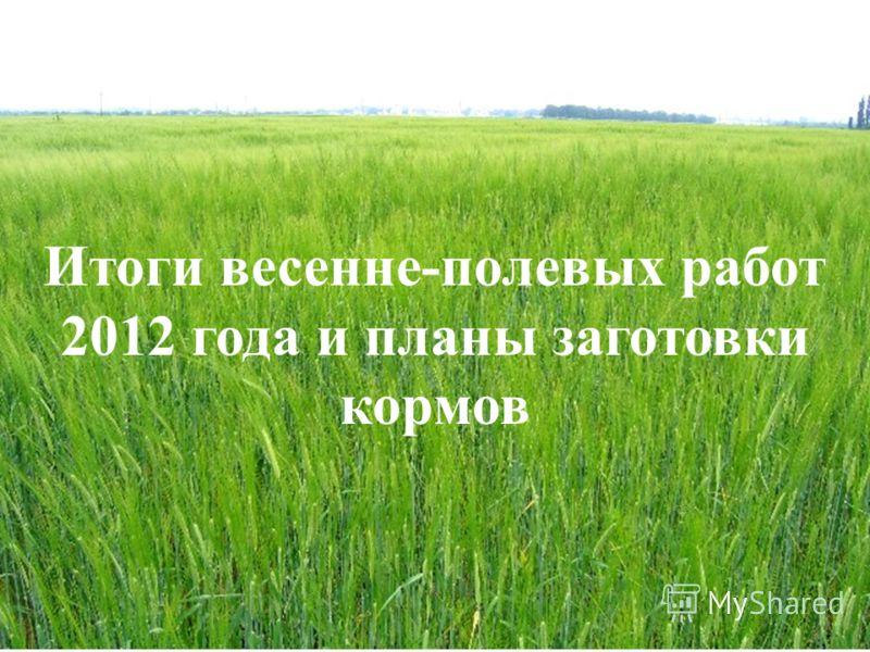Итоги весенне-полевых работ 2012 года и планы заготовки кормов