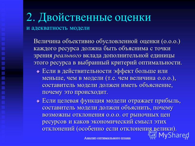 Анализ оптимального плана11 2. Двойственные оценки и адекватность модели Величина объективно обусловленной оценки (о.о.о.) каждого ресурса должна быть объяснима с точки зрения реального вклада дополнительной единицы этого ресурса в выбранный критерий