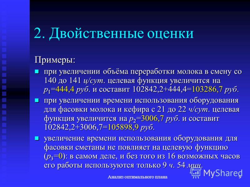 Анализ оптимального плана9 2. Двойственные оценки Примеры: при увеличении объёма переработки молока в смену со 140 до 141 ц/сут. целевая функция увеличится на p 1 =444,4 руб. и составит 102842,2+444,4=103286,7 руб. при увеличении объёма переработки м