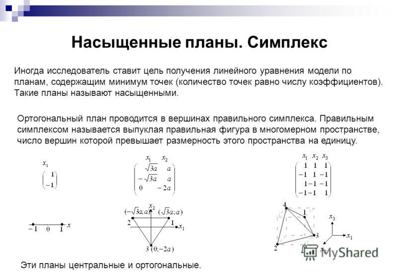 Насыщенные планы. Симплекс Иногда исследователь ставит цель получения линейного уравнения модели по планам, содержащим минимум точек (количество точек равно числу коэффициентов). Такие планы называют насыщенными. Ортогональный план проводится в верши