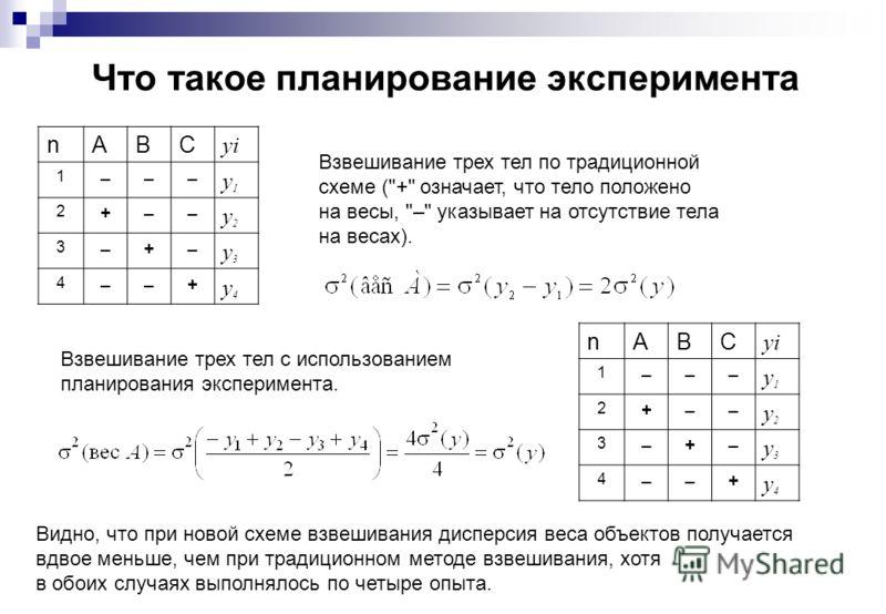 Что такое планирование эксперимента Взвешивание трех тел по традиционной схеме (