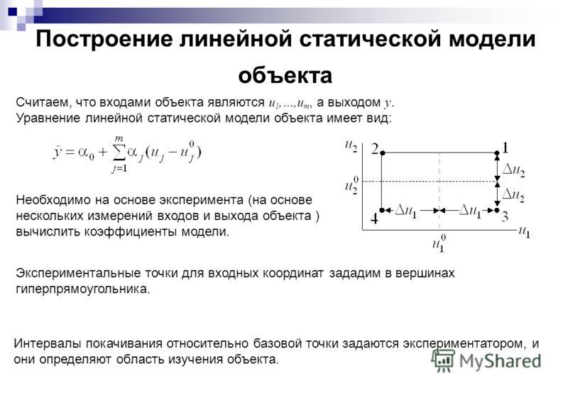 Построение линейной статической модели объекта Считаем, что входами объекта являются u 1,…,u m, а выходом y. Уравнение линейной статической модели объекта имеет вид: Необходимо на основе эксперимента (на основе нескольких измерений входов и выхода об