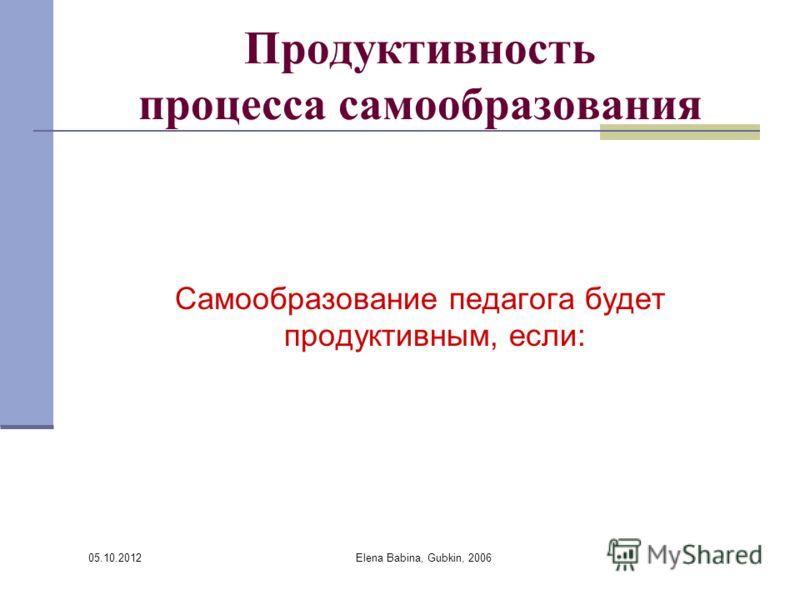 30.07.2012 Elena Babina, Gubkin, 2006 Продуктивность процесса самообразования Самообразование педагога будет продуктивным, если: