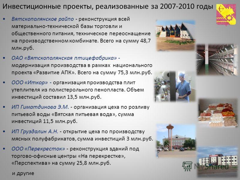 Инвестиционные проекты, реализованные за 2007-2010 годы Вятскополянское райпо - реконструкция всей материально-технической базы торговли и общественного питания, техническое переоснащение на производственном комбинате. Всего на сумму 48,7 млн.руб. ОА