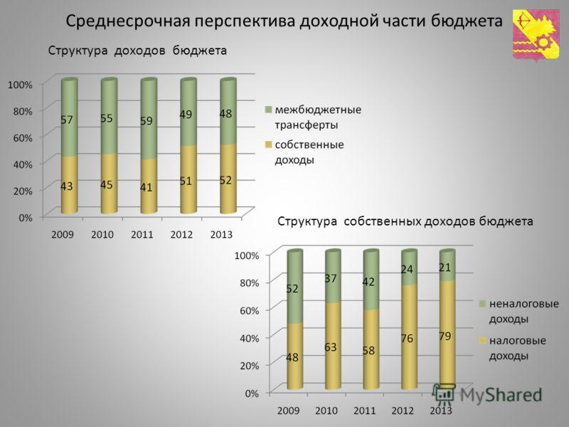 Среднесрочная перспектива доходной части бюджета Структура собственных доходов бюджета Структура доходов бюджета