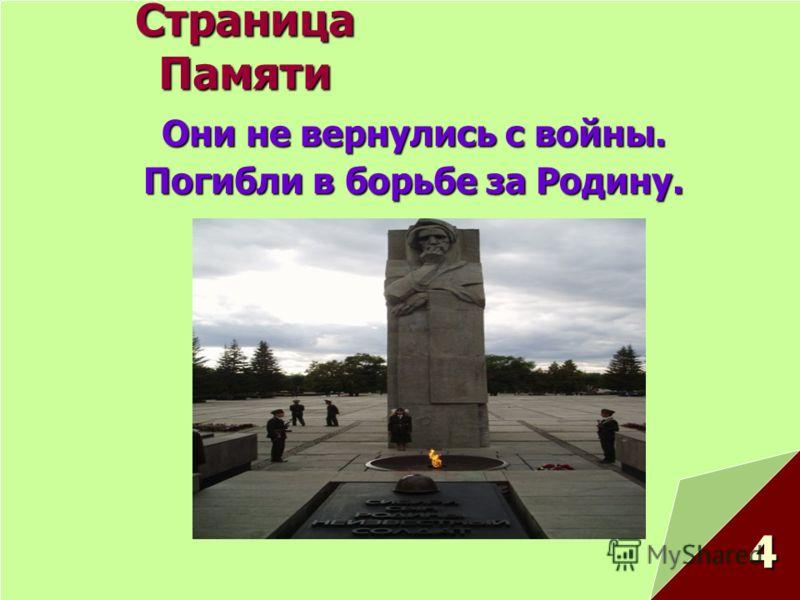 Страница Памяти Они не вернулись с войны. Погибли в борьбе за Родину. 4