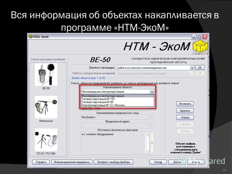 Вся информация об объектах накапливается в программе «НТМ-ЭкоМ» 31