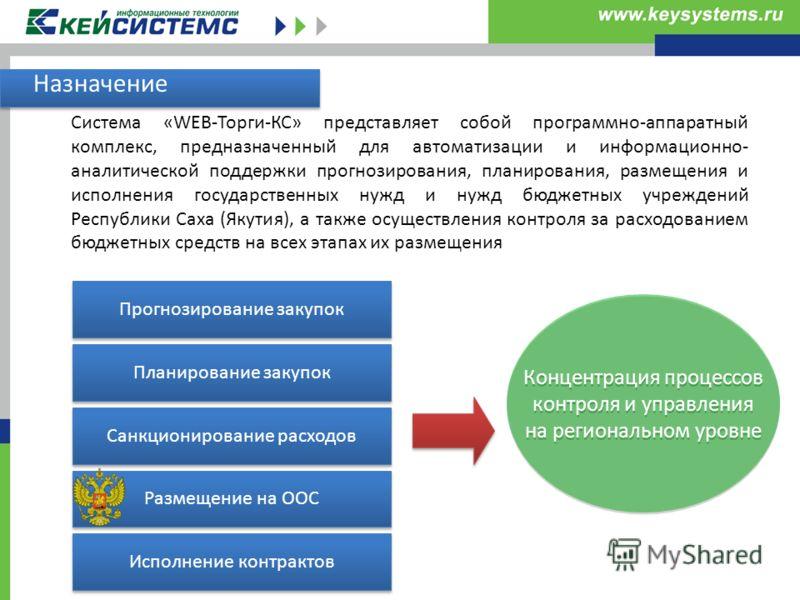Система «WEB-Торги-КС» представляет собой программно-аппаратный комплекс, предназначенный для автоматизации и информационно- аналитической поддержки прогнозирования, планирования, размещения и исполнения государственных нужд и нужд бюджетных учрежден