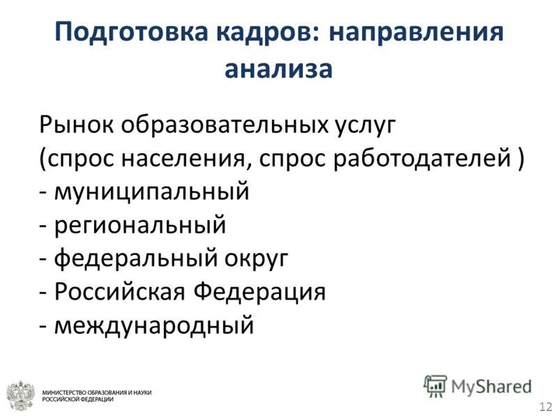 12 Подготовка кадров: направления анализа Рынок образовательных услуг (спрос населения, спрос работодателей ) - муниципальный - региональный - федеральный округ - Российская Федерация - международный