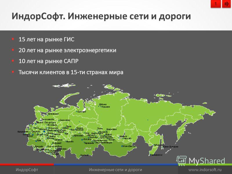 ИндорСофт. Инженерные сети и дороги ИндорСофтИнженерные сети и дорогиwww.indorsoft.ru 15 лет на рынке ГИС 20 лет на рынке электроэнергетики 10 лет на рынке САПР Тысячи клиентов в 15-ти странах мира