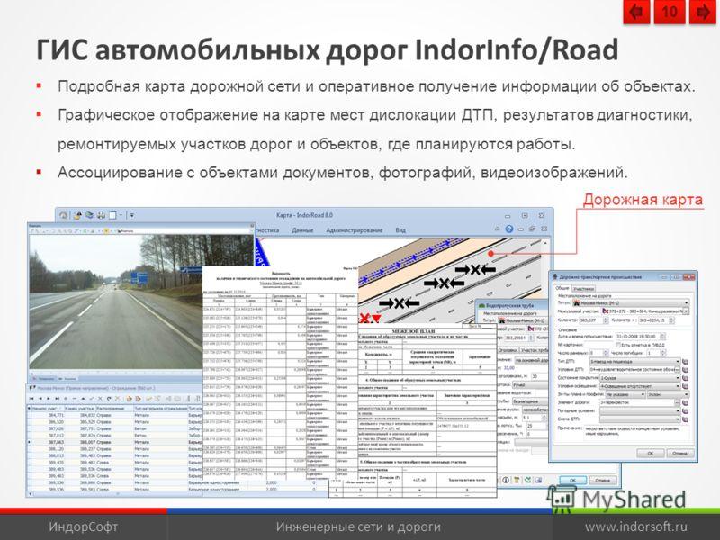 ГИС автомобильных дорог IndorInfo/Road Подробная карта дорожной сети и оперативное получение информации об объектах. Графическое отображение на карте мест дислокации ДТП, результатов диагностики, ремонтируемых участков дорог и объектов, где планируют