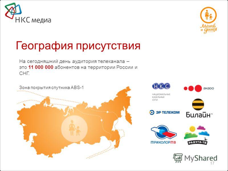 На сегодняшний день аудитория телеканала – это 11 000 000 абонентов на территории России и СНГ. Зона покрытия спутника ABS-1 География присутствия 6 17