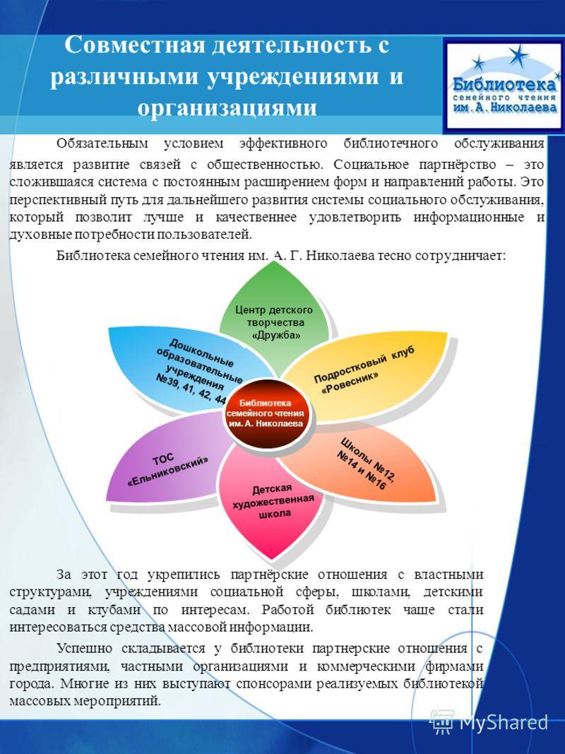 Совместная деятельность с различными учреждениями и организациями Обязательным условием эффективного библиотечного обслуживания является развитие связей с общественностью. Социальное партнёрство – это сложившаяся система с постоянным расширением форм