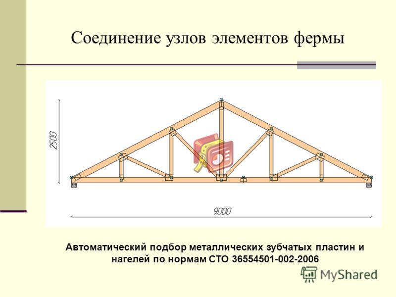 Соединение узлов элементов фермы Автоматический подбор металлических зубчатых пластин и нагелей по нормам СТО 36554501-002-2006