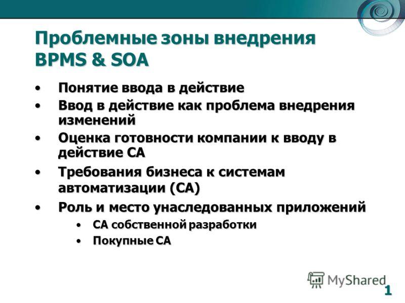 Проблемные зоны внедрения BPMS & SOA Понятие ввода в действиеПонятие ввода в действие Ввод в действие как проблема внедрения измененийВвод в действие как проблема внедрения изменений Оценка готовности компании к вводу в действие САОценка готовности к
