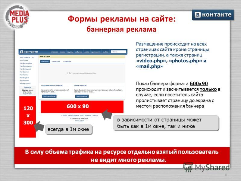 9 Формы рекламы на сайте: баннерная реклама Размещение происходит на всех страницах сайта кроме страницы регистрации, а также страниц «video.php», «photos.php» и «mail.php» В силу объема трафика на ресурсе отдельно взятый пользователь не видит много