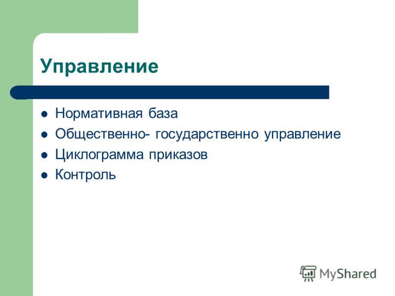Управление Нормативная база Общественно- государственно управление Циклограмма приказов Контроль