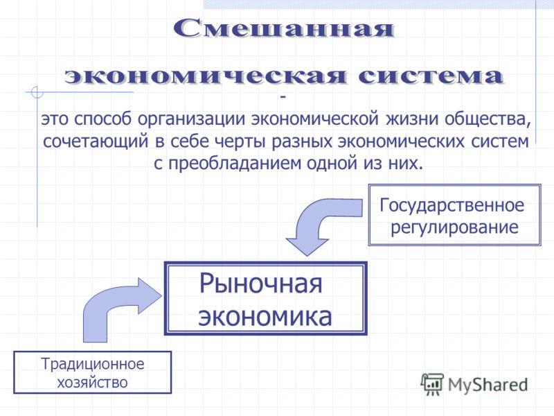 - это способ организации экономической жизни общества, сочетающий в себе черты разных экономических систем с преобладанием одной из них. Рыночная экономика Государственное регулирование Традиционное хозяйство
