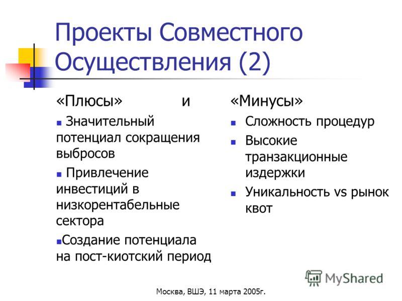 Москва, ВШЭ, 11 марта 2005г. Проекты Совместного Осуществления (2) «Плюсы» и Значительный потенциал сокращения выбросов Привлечение инвестиций в низкорентабельные сектора Создание потенциала на пост-киотский период «Минусы» Сложность процедур Высокие