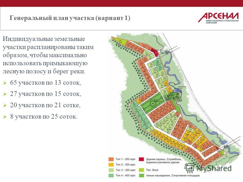 Генеральный план участка (вариант 1) Индивидуальные земельные участки распланированы таким образом, чтобы максимально использовать примыкающую лесную полосу и берег реки. 65 участков по 13 соток, 27 участков по 15 соток, 20 участков по 21 сотке, 8 уч