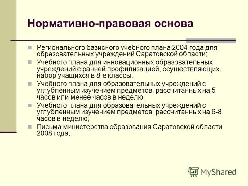 Нормативно-правовая основа Регионального базисного учебного плана 2004 года для образовательных учреждений Саратовской области; Учебного плана для инновационных образовательных учреждений с ранней профилизацией, осуществляющих набор учащихся в 8-е кл