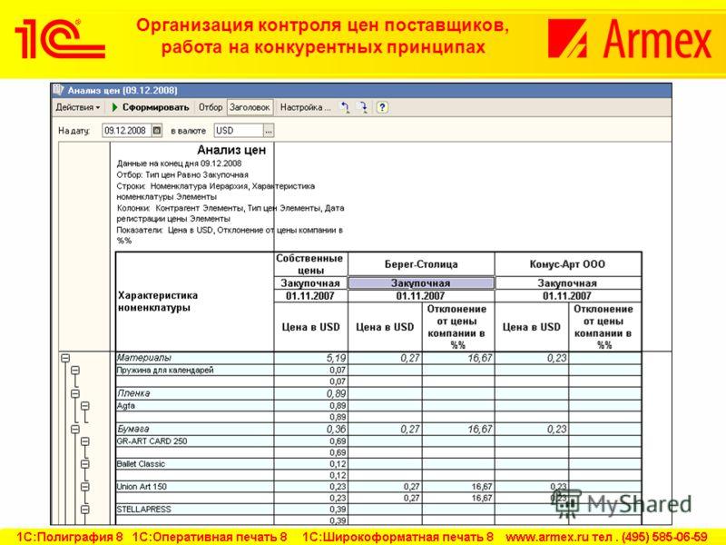 Организация контроля цен поставщиков, работа на конкурентных принципах