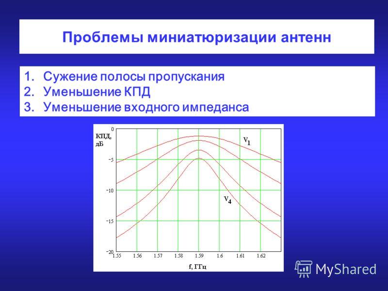 Проблемы миниатюризации антенн 1.Сужение полосы пропускания 2.Уменьшение КПД 3.Уменьшение входного импеданса