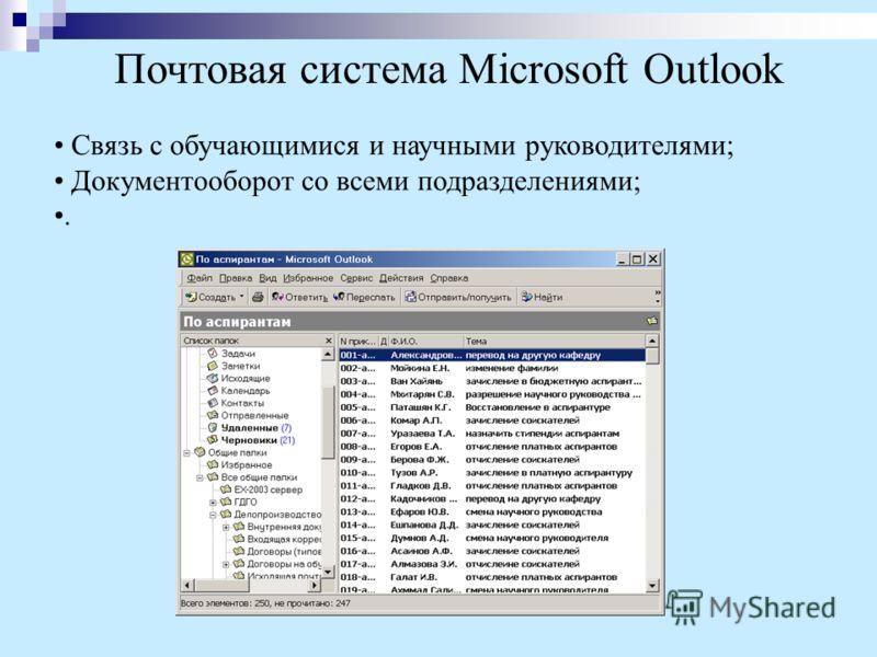 Связь с обучающимися и научными руководителями; Документооборот со всеми подразделениями;. Почтовая система Microsoft Outlook