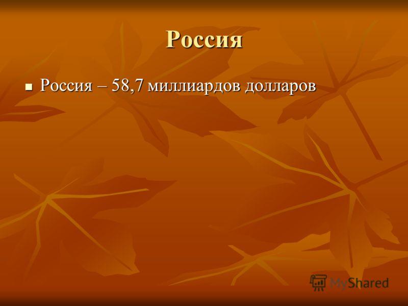 Россия Россия – 58,7 миллиардов долларов Россия – 58,7 миллиардов долларов