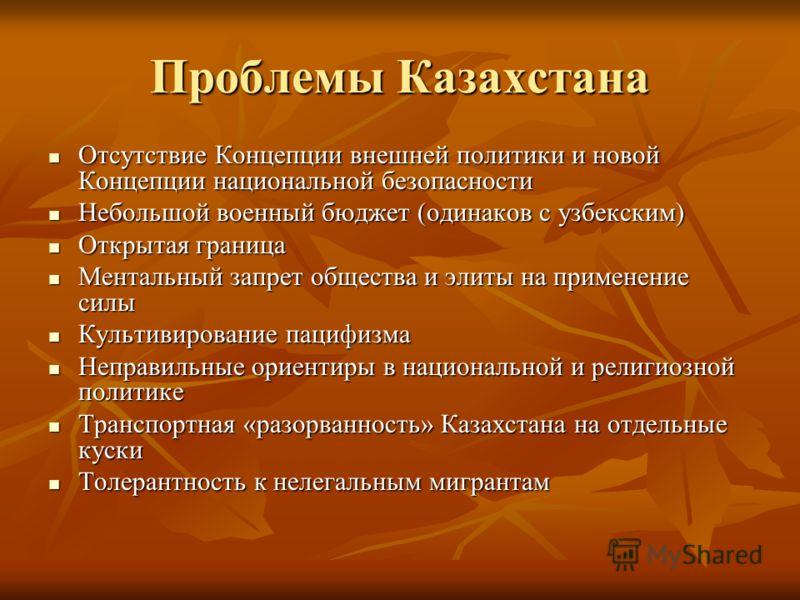 Проблемы Казахстана Отсутствие Концепции внешней политики и новой Концепции национальной безопасности Отсутствие Концепции внешней политики и новой Концепции национальной безопасности Небольшой военный бюджет (одинаков с узбекским) Небольшой военный