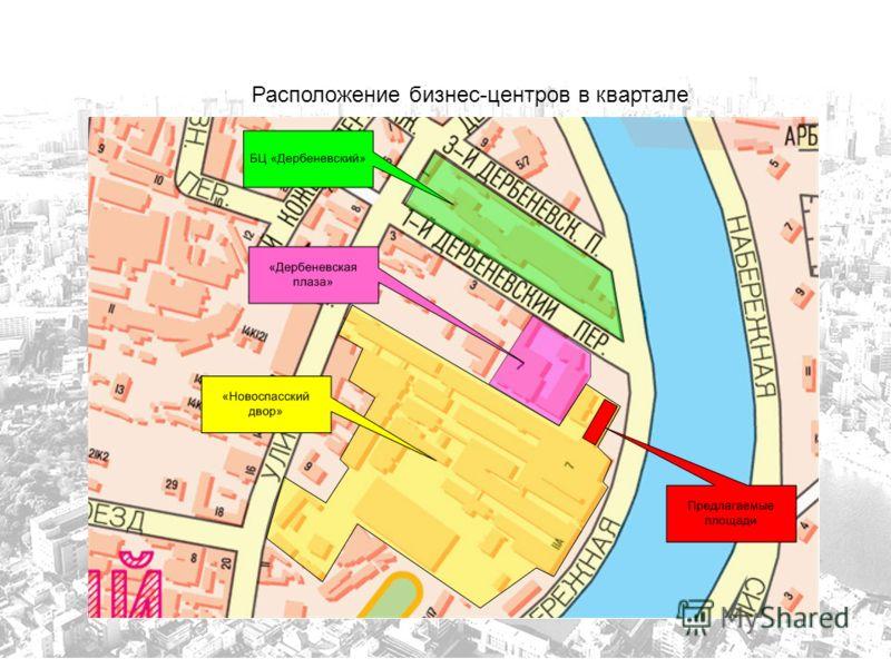 Расположение бизнес-центров в квартале