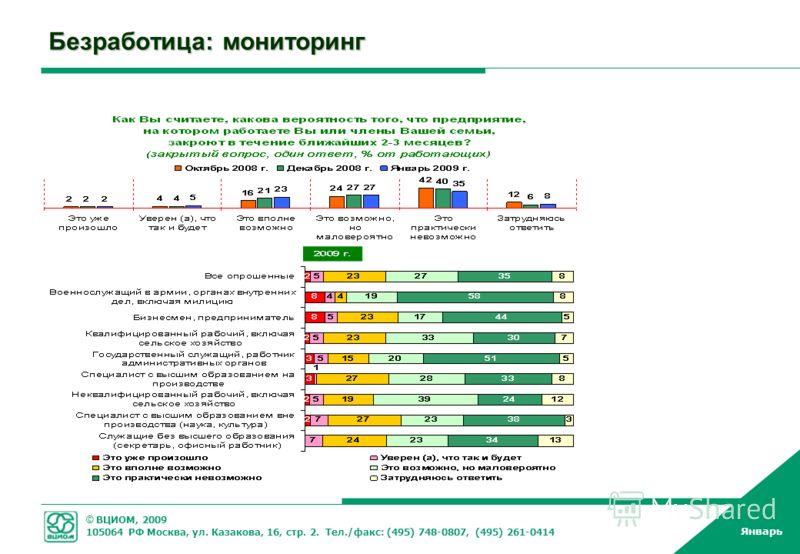 © ВЦИОМ, 2009 105064 РФ Москва, ул. Казакова, 16, стр. 2. Тел./факс: (495) 748-0807, (495) 261-0414 Январь Безработица: мониторинг
