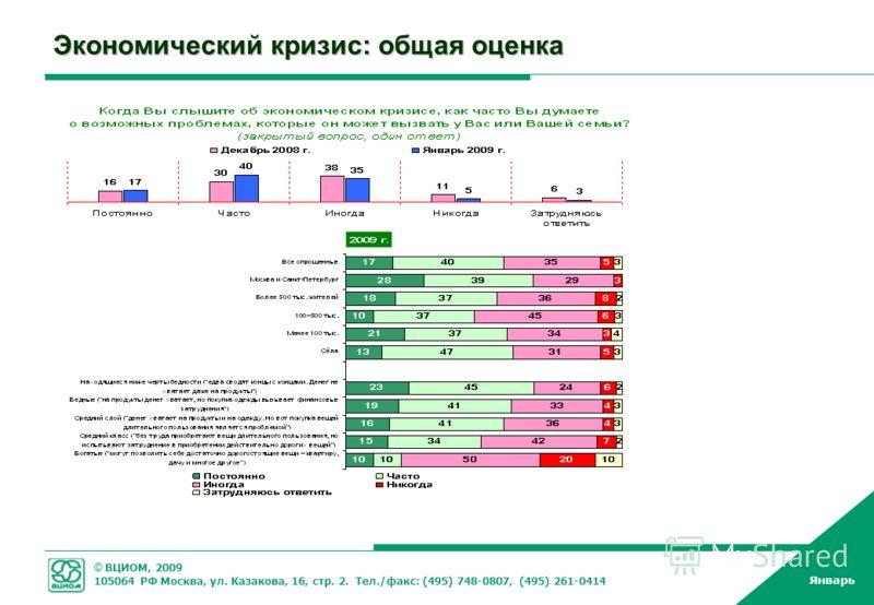 © ВЦИОМ, 2009 105064 РФ Москва, ул. Казакова, 16, стр. 2. Тел./факс: (495) 748-0807, (495) 261-0414 Январь Экономический кризис: общая оценка
