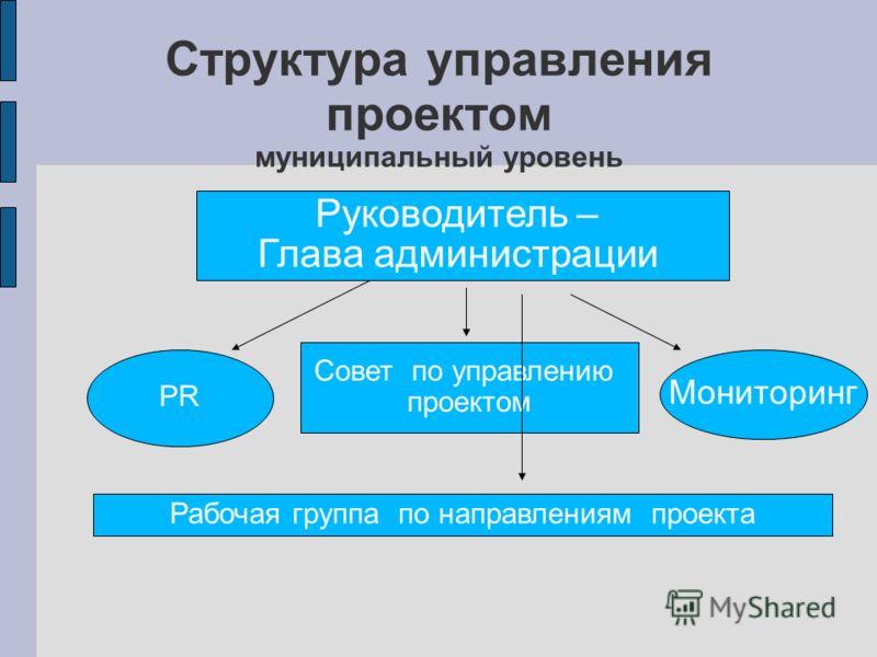 Структура управления проектом муниципальный уровень Руководитель – Глава администрации Совет по управлению проектом Рабочая группа по направлениям проекта PR Мониторинг