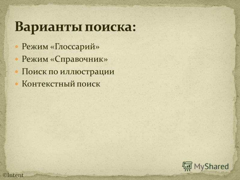 Режим «Глоссарий» Режим «Справочник» Поиск по иллюстрации Контекстный поиск