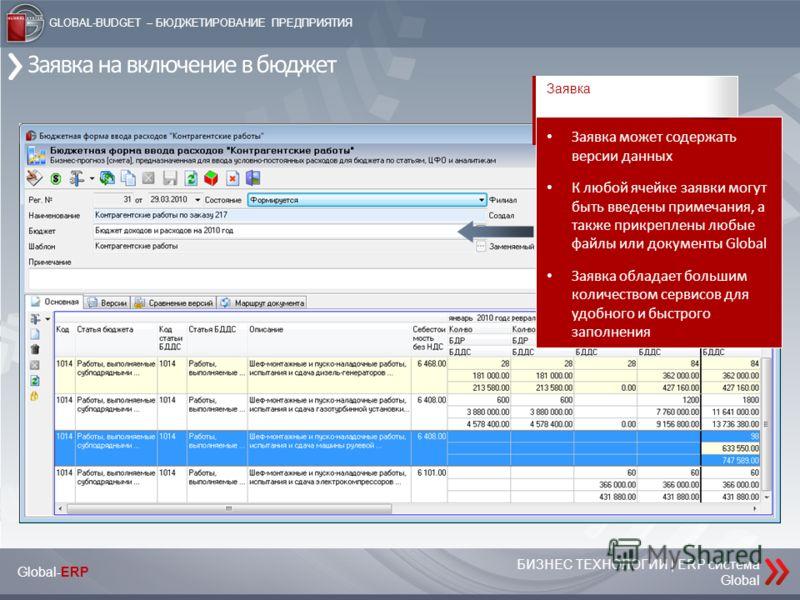 БИЗНЕС ТЕХНОЛОГИИ | ERP система Global Global-ERP GLOBAL-BUDGET – БЮДЖЕТИРОВАНИЕ ПРЕДПРИЯТИЯ Заявка на включение в бюджет Заявка Заявка может содержать версии данных К любой ячейке заявки могут быть введены примечания, а также прикреплены любые файлы
