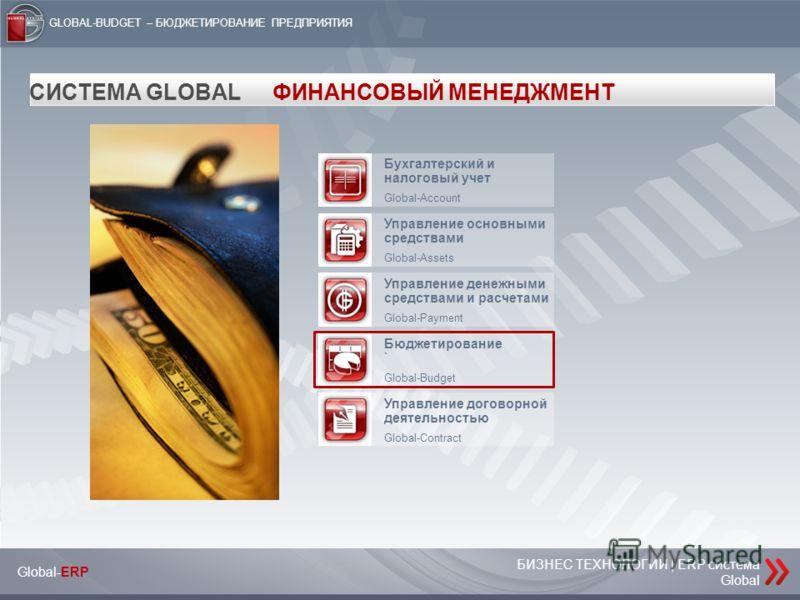 БИЗНЕС ТЕХНОЛОГИИ | ERP система Global Global-ERP GLOBAL-BUDGET – БЮДЖЕТИРОВАНИЕ ПРЕДПРИЯТИЯ СИСТЕМА GLOBALФИНАНСОВЫЙ МЕНЕДЖМЕНТ Бухгалтерский и налоговый учет Global-Account Управление основными средствами Global-Assets Управление денежными средства