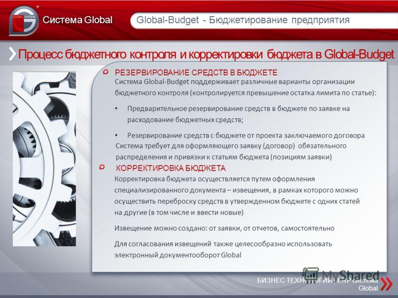 Процесс бюджетного контроля и корректировки бюджета в Global-Budget Global-Budget - Бюджетирование предприятия Система Global БИЗНЕС ТЕХНОЛОГИИ | ERP система Global РЕЗЕРВИРОВАНИЕ СРЕДСТВ В БЮДЖЕТЕ Система Global-Budget поддерживает различные вариант