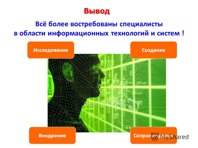 Вывод Всё более востребованы специалисты в области информационных технологий и систем ! ИсследованиеСоздание ВнедрениеСопровождение