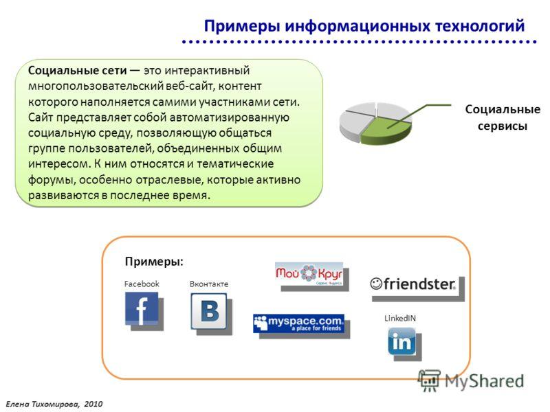 Кликнув на картинку можно попасть на сайт социальной сети или профессионального сообщества FacebookВконтакте LinkedIN Примеры информационных технологий Социальные сети это интерактивный многопользовательский веб-сайт, контент которого наполняется сам