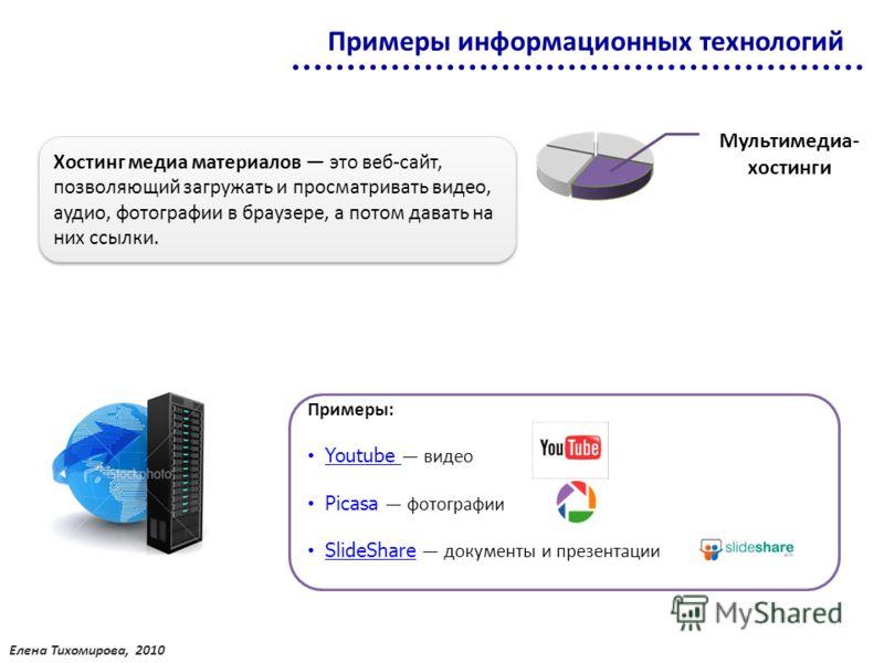 Мультимедиа- хостинги Хостинг медиа материалов это веб-сайт, позволяющий загружать и просматривать видео, аудио, фотографии в браузере, а потом давать на них ссылки. Примеры: Youtube видео Picasa фотографии SlideShare документы и презентации Примеры