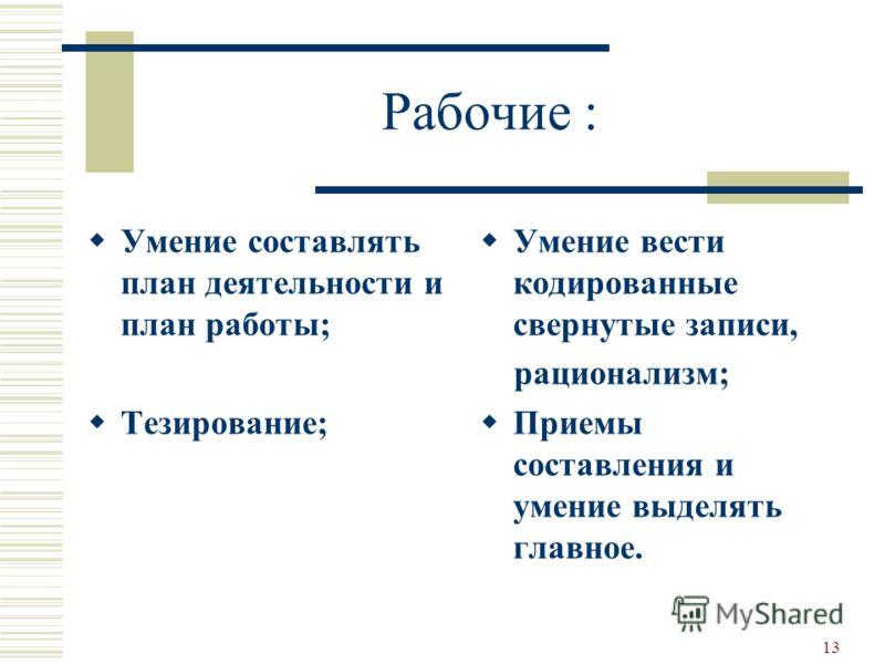 13 Рабочие : Умение составлять план деятельности и план работы; Тезирование; Умение вести кодированные свернутые записи, рационализм; Приемы составления и умение выделять главное.
