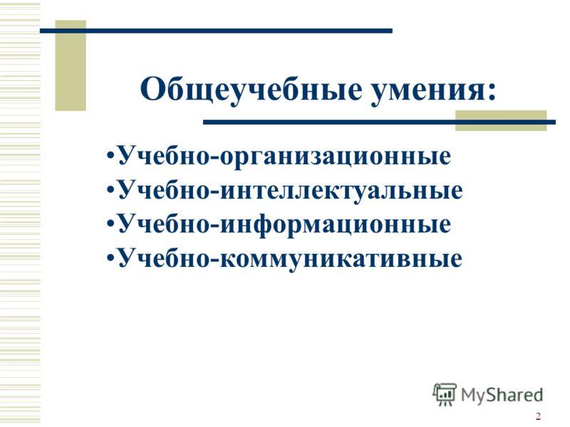 2 Общеучебные умения: Учебно-организационные Учебно-интеллектуальные Учебно-информационные Учебно-коммуникативные