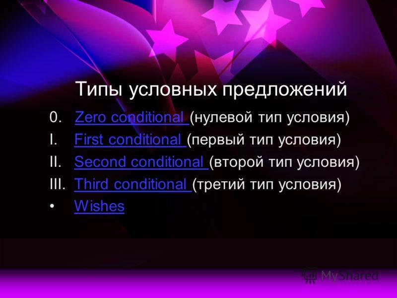 Типы условных предложений 0. Zero conditional (нулевой тип условия)Zero conditional I.First conditional (первый тип условия)First conditional II.Second conditional (второй тип условия)Second conditional III.Third conditional (третий тип условия)Third
